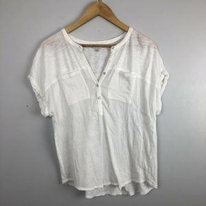 White Lucky Brand Henley short sleeve blouse Large